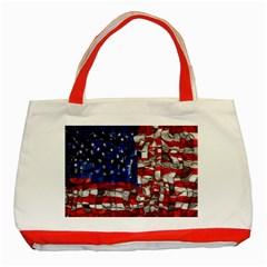 American Flag Blocks Classic Tote Bag (red)