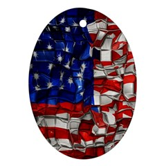 American Flag Blocks Oval Ornament (Two Sides)