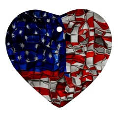 American Flag Blocks Heart Ornament (Two Sides)