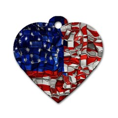 American Flag Blocks Dog Tag Heart (Two Sided)