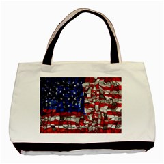 American Flag Blocks Twin-sided Black Tote Bag