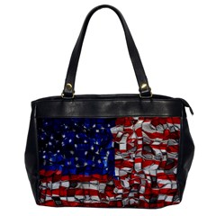 American Flag Blocks Oversize Office Handbag (one Side)