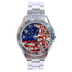 American Flag Blocks Stainless Steel Watch