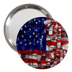 American Flag Blocks 3  Handbag Mirror