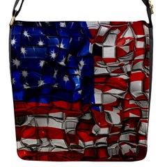 American Flag Blocks Flap Closure Messenger Bag (small)