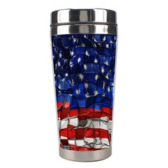 American Flag Blocks Stainless Steel Travel Tumbler