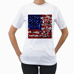 American Flag Blocks Women s T Shirt (white)