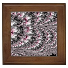 Black Red White Lava Fractal Framed Ceramic Tile