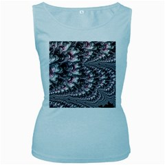 Black Red White Lava Fractal Women s Tank Top (Baby Blue)