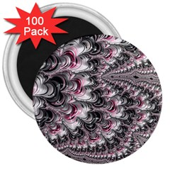 Black Red White Lava Fractal 3  Button Magnet (100 pack)