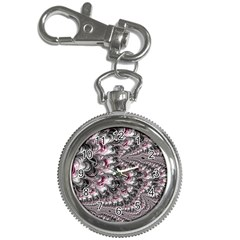 Black Red White Lava Fractal Key Chain Watch
