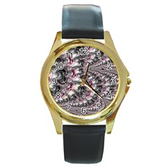 Black Red White Lava Fractal Round Leather Watch (gold Rim)