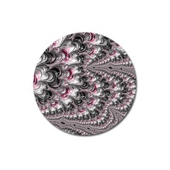 Black Red White Lava Fractal Magnet 3  (Round)