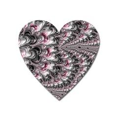 Black Red White Lava Fractal Magnet (heart)