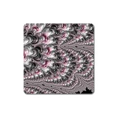 Black Red White Lava Fractal Magnet (Square)