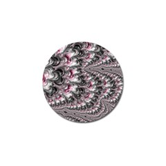 Black Red White Lava Fractal Golf Ball Marker