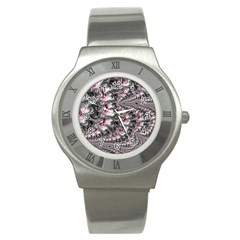 Black Red White Lava Fractal Stainless Steel Watch (slim)