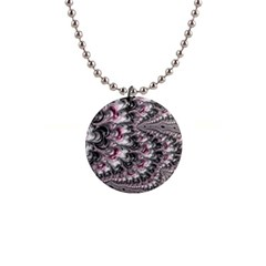 Black Red White Lava Fractal Button Necklace