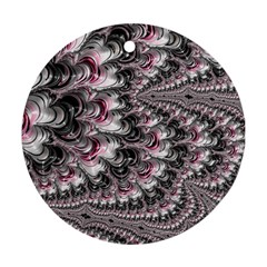 Black Red White Lava Fractal Round Ornament (two Sides)