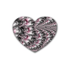 Black Red White Lava Fractal Drink Coasters (heart)