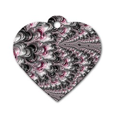 Black Red White Lava Fractal Dog Tag Heart (One Sided)