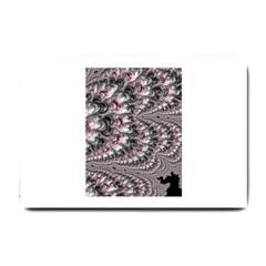 Black Red White Lava Fractal Small Door Mat