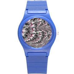 Black Red White Lava Fractal Plastic Sport Watch (Small)