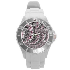 Black Red White Lava Fractal Plastic Sport Watch (large)