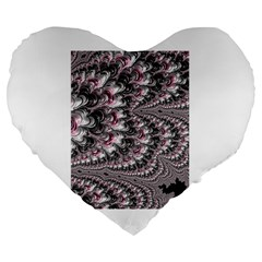 Black Red White Lava Fractal 19  Premium Heart Shape Cushion