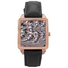 Black Red White Lava Fractal Rose Gold Leather Watch