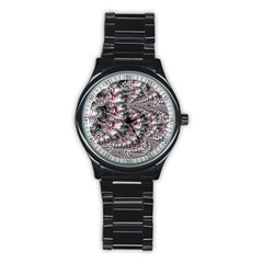 Black Red White Lava Fractal Sport Metal Watch (black)