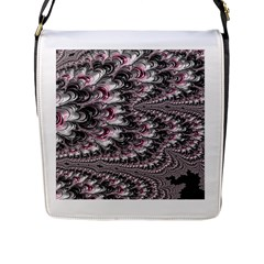 Black Red White Lava Fractal Flap Closure Messenger Bag (Large)