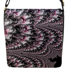 Black Red White Lava Fractal Flap Closure Messenger Bag (small)