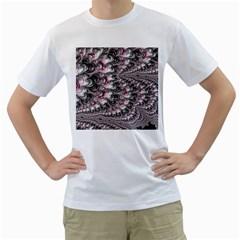 Black Red White Lava Fractal Men s T-Shirt (White)