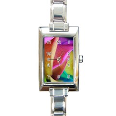 Rainbow Roses 16 Rectangular Italian Charm Watch