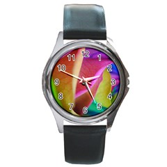 Rainbow Roses 16 Round Leather Watch (Silver Rim)