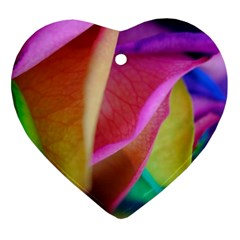 Rainbow Roses 16 Heart Ornament