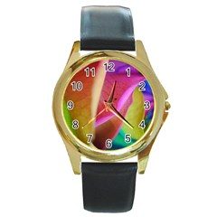 Rainbow Roses 16 Round Leather Watch (gold Rim)