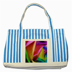 Rainbow Roses 16 Blue Striped Tote Bag
