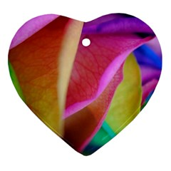 Rainbow Roses 16 Heart Ornament (Two Sides)