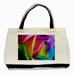 Rainbow Roses 16 Twin-sided Black Tote Bag
