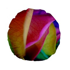 Rainbow Roses 16 15  Premium Round Cushion