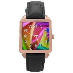 Rainbow Roses 16 Rose Gold Leather Watch