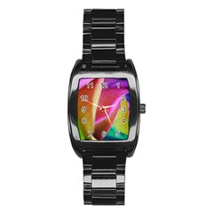 Rainbow Roses 16 Stainless Steel Barrel Watch