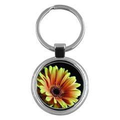 Yellow Orange Gerbera Daisy Key Chain (round)