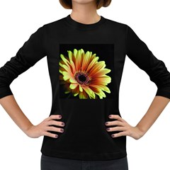 Yellow Orange Gerbera Daisy Women s Long Sleeve T Shirt (dark Colored)