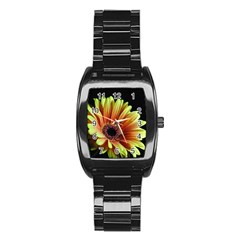 Yellow Orange Gerbera Daisy Stainless Steel Barrel Watch