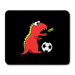 Black Cartoon Dinosaur Soccer Large Mouse Pad (rectangle)