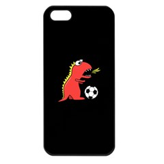 Black Cartoon Dinosaur Soccer Apple Iphone 5 Seamless Case (black)