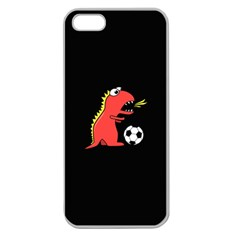 Black Cartoon Dinosaur Soccer Apple Seamless Iphone 5 Case (clear)